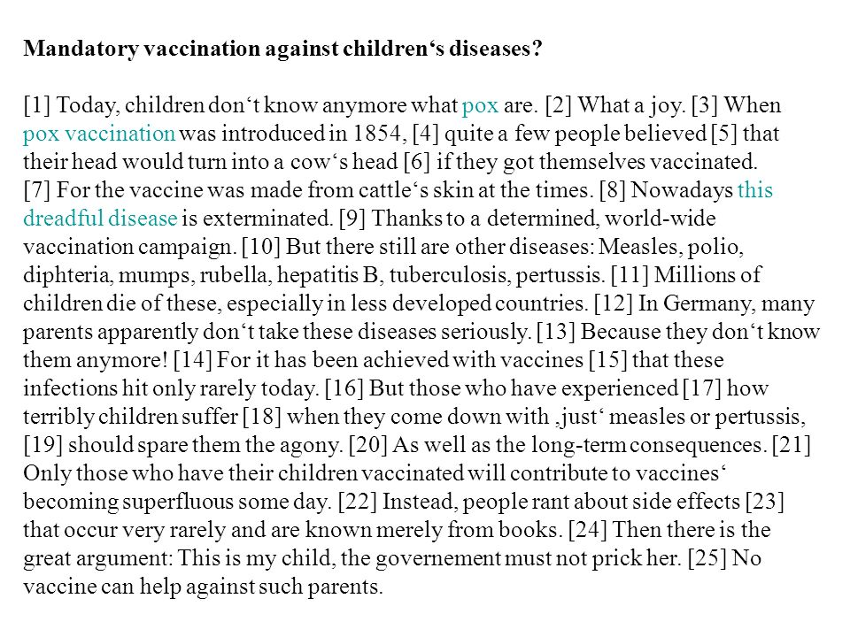 Mandatory vaccination against children's diseases