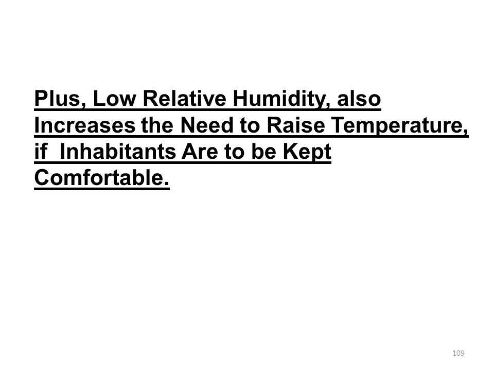 Plus, Low Relative Humidity, also Increases the Need to Raise Temperature, if Inhabitants Are to be Kept Comfortable.