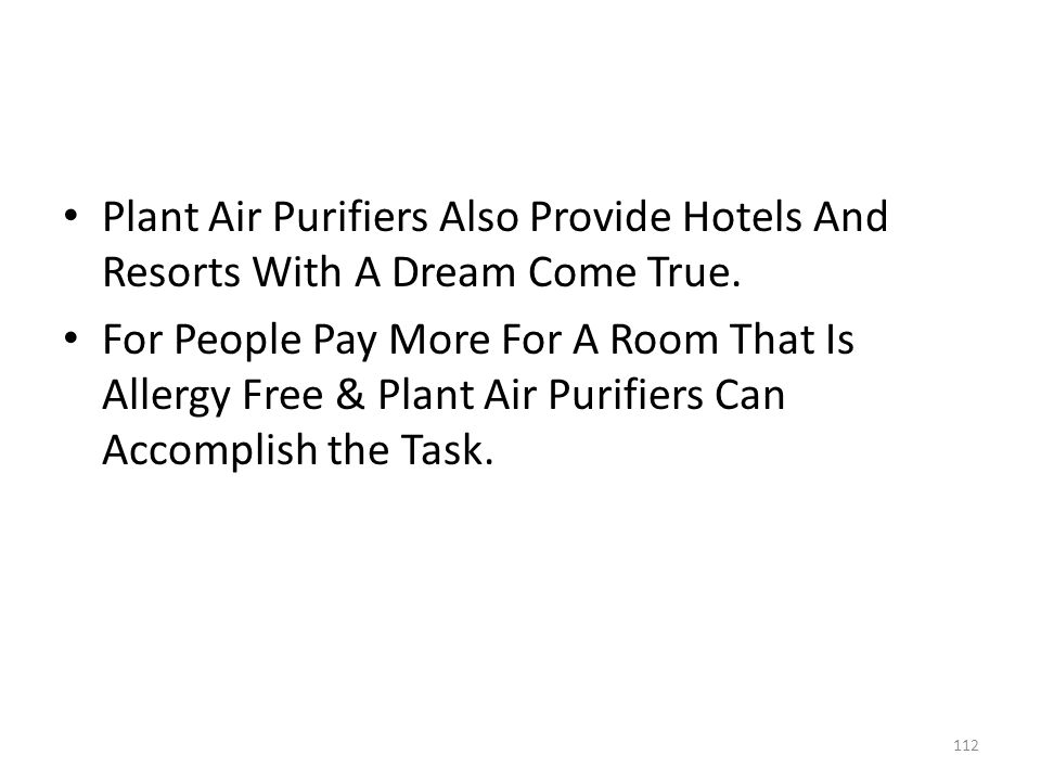 Plant Air Purifiers Also Provide Hotels And Resorts With A Dream Come True.