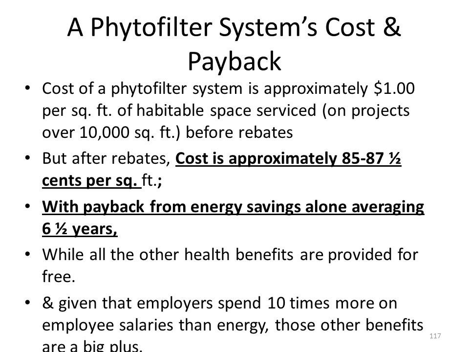 A Phytofilter System's Cost & Payback