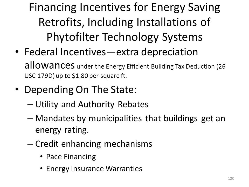 Financing Incentives for Energy Saving Retrofits, Including Installations of Phytofilter Technology Systems