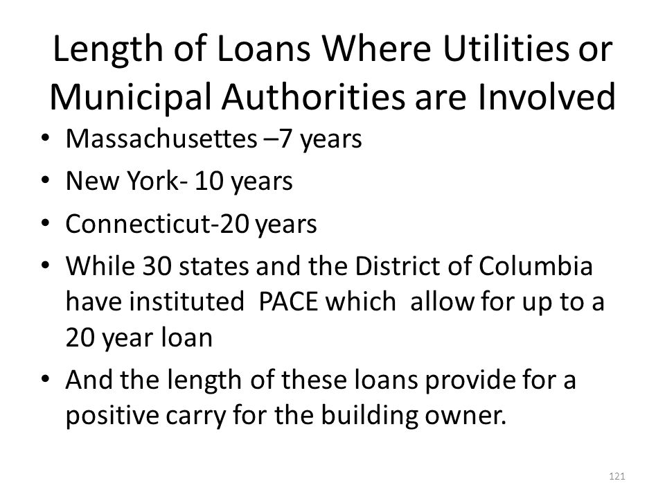 Length of Loans Where Utilities or Municipal Authorities are Involved
