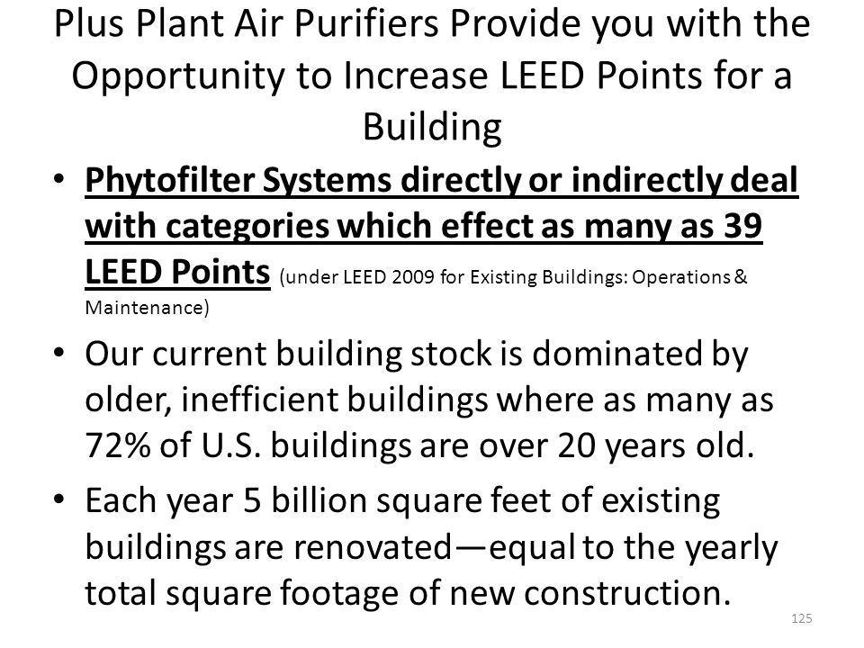 Plus Plant Air Purifiers Provide you with the Opportunity to Increase LEED Points for a Building