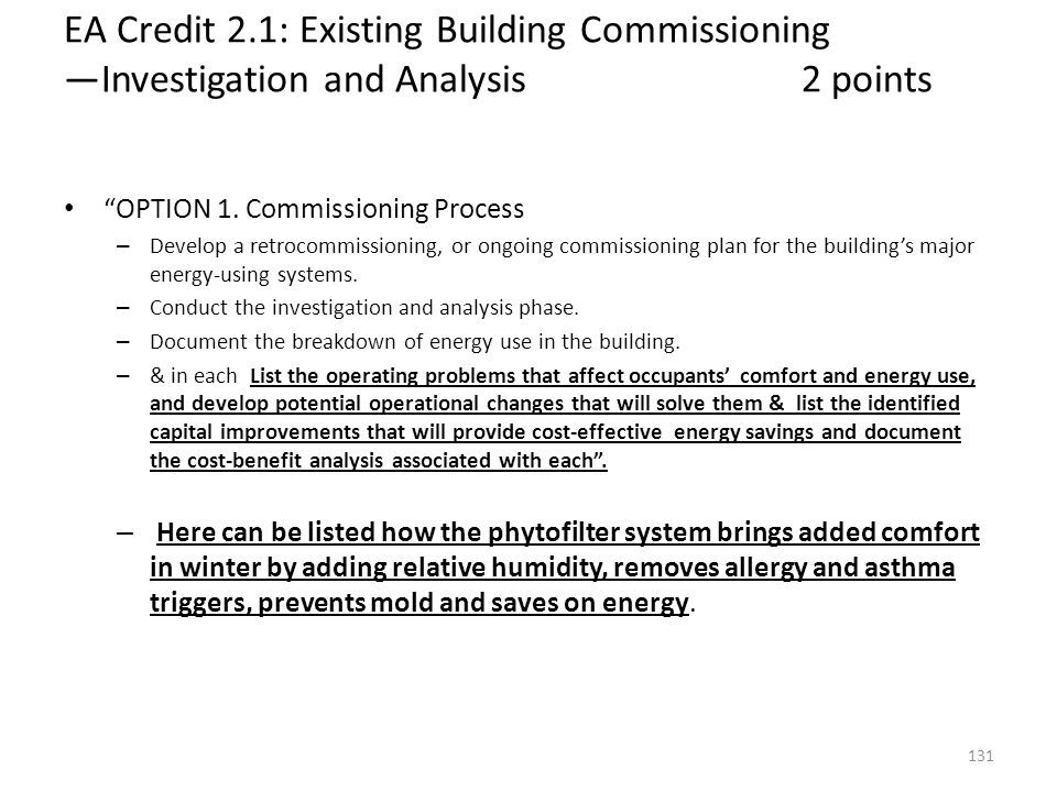 EA Credit 2.1: Existing Building Commissioning —Investigation and Analysis 2 points