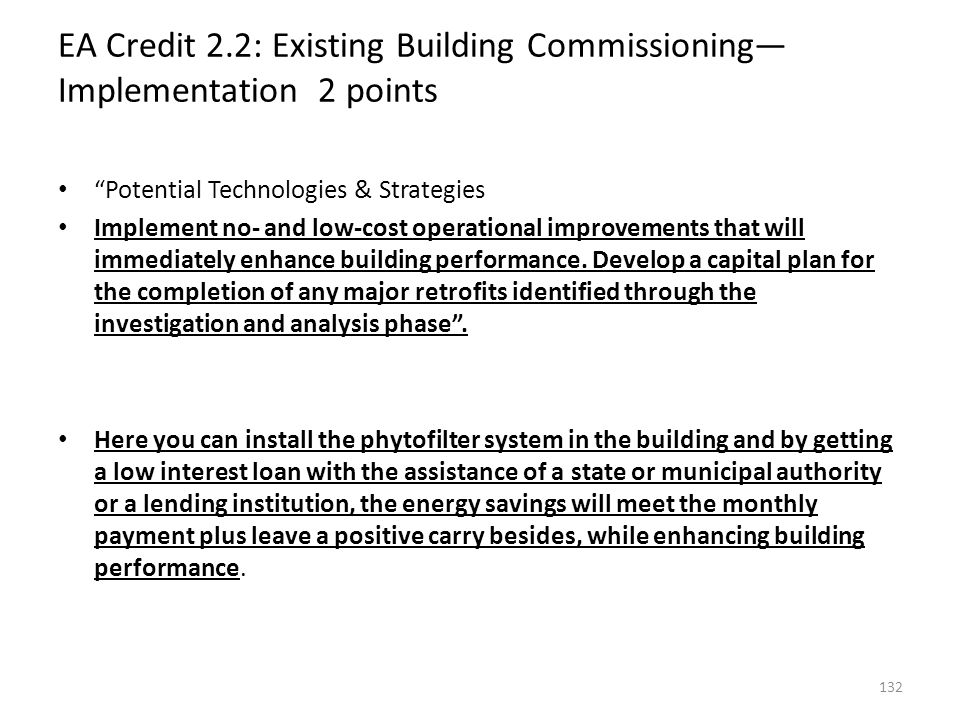 EA Credit 2.2: Existing Building Commissioning—Implementation 2 points