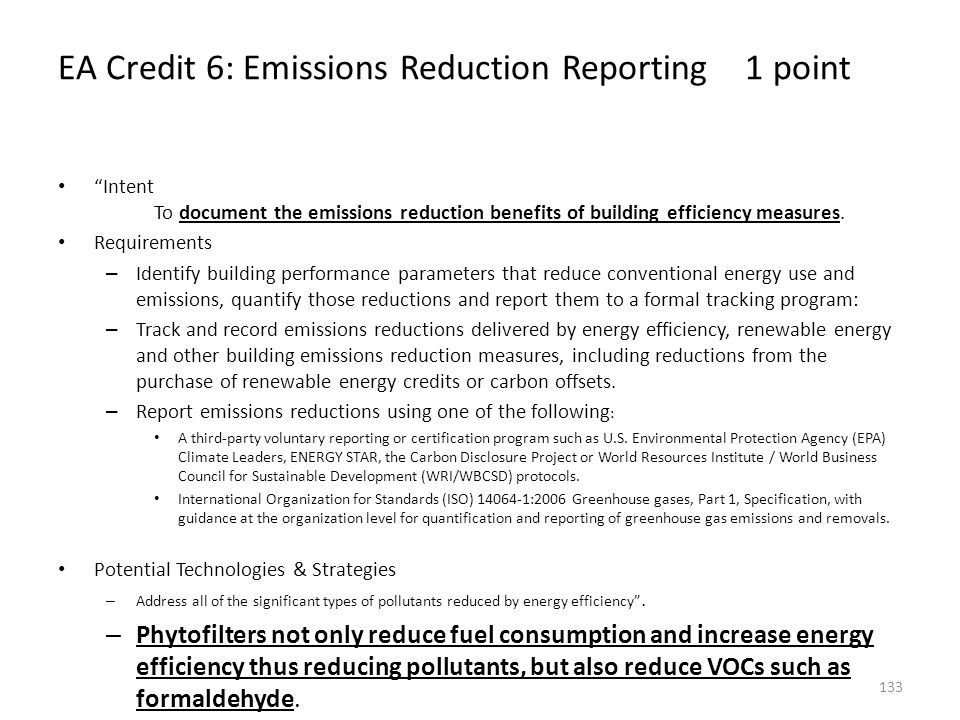 EA Credit 6: Emissions Reduction Reporting 1 point