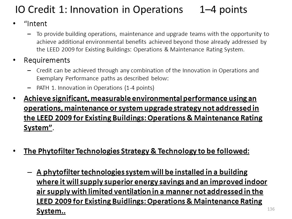 IO Credit 1: Innovation in Operations 1–4 points