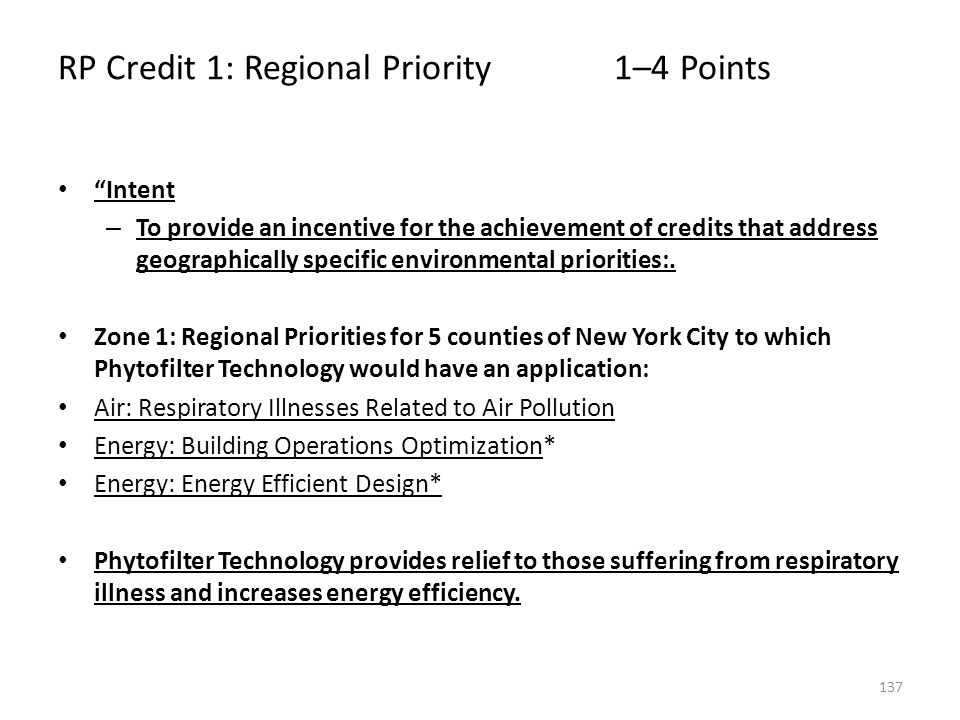 RP Credit 1: Regional Priority 1–4 Points
