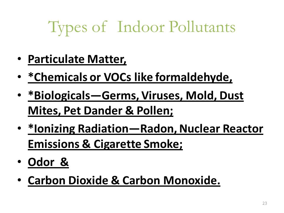 Types of Indoor Pollutants