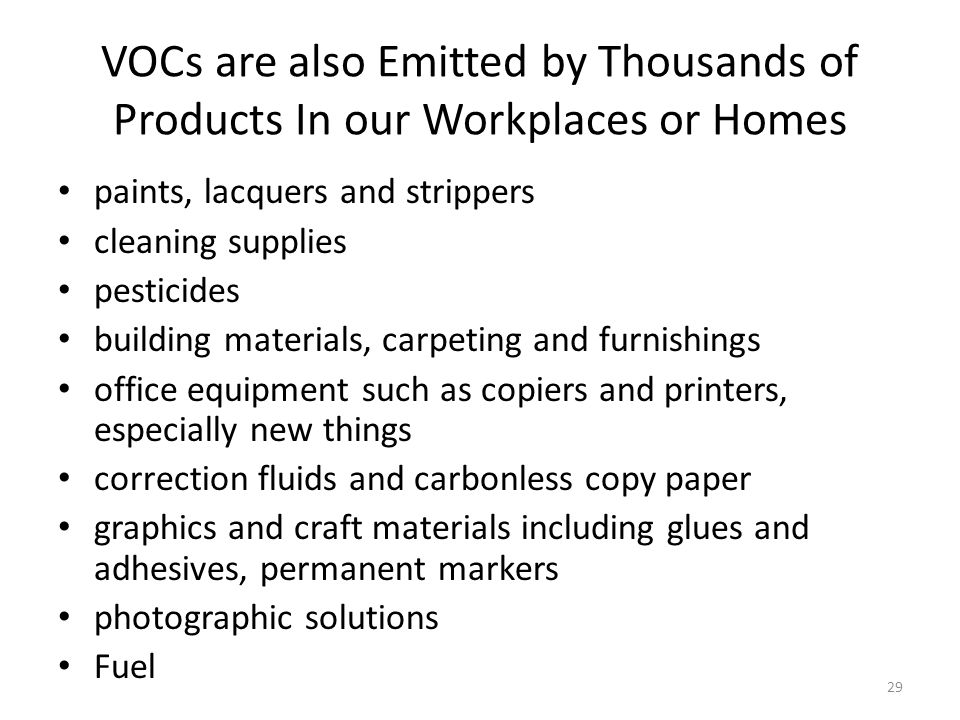 VOCs are also Emitted by Thousands of Products In our Workplaces or Homes
