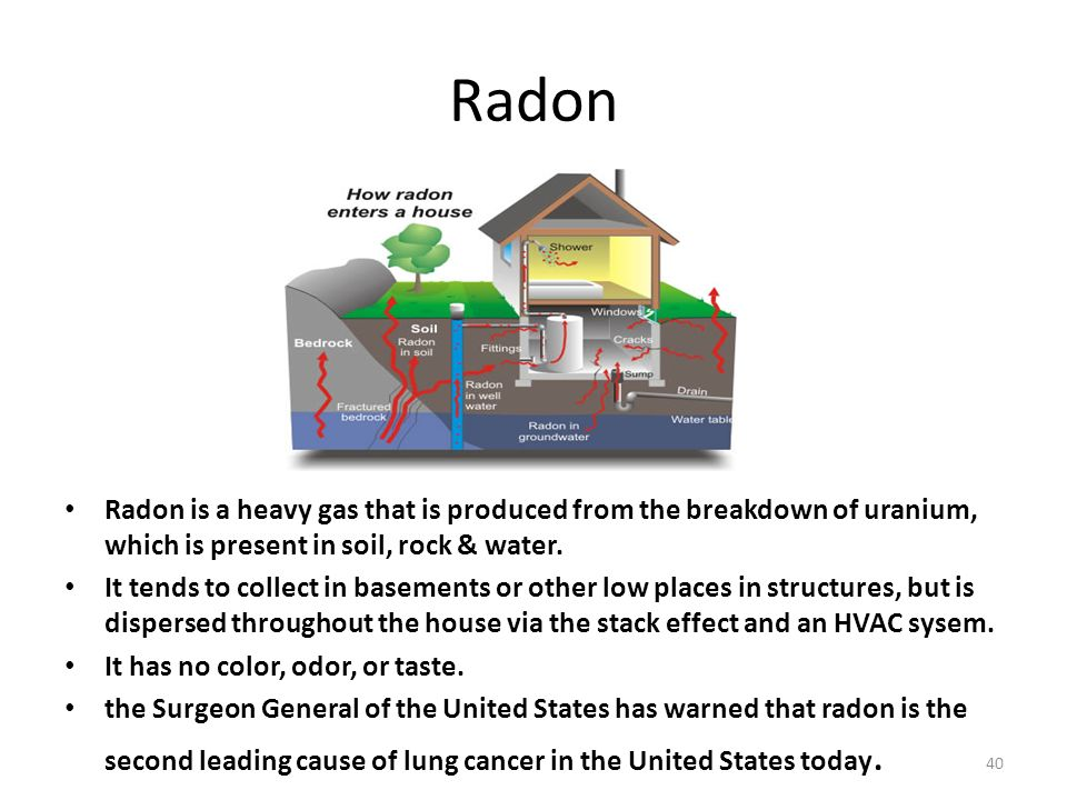 Radon Radon is a heavy gas that is produced from the breakdown of uranium, which is present in soil, rock & water.