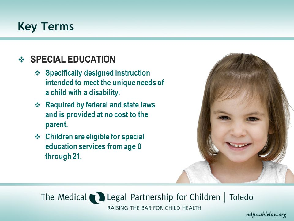 special education key terms Special education is full of terms that people constantly use in writing and in conversation, and it's important to know what those terms mean.