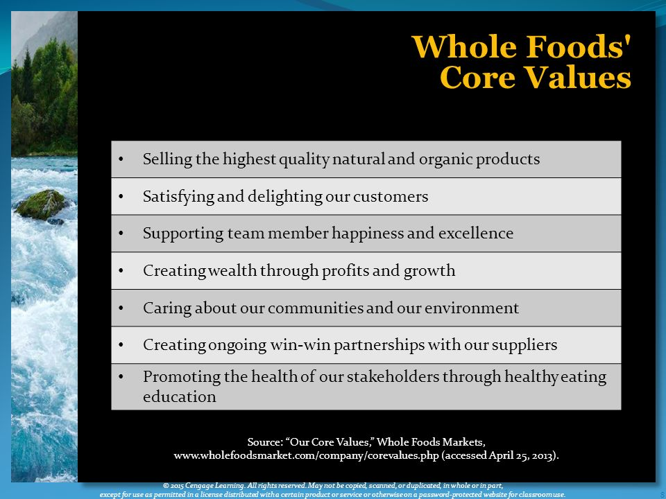 whole foods core values Satisfying and delighting our customers one of the chosen segments for  whole foods market's 2010 core values project.
