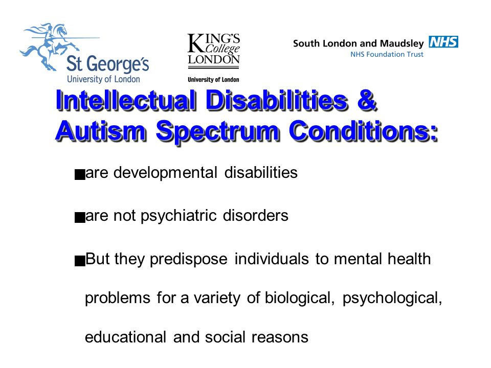 intellectual disability causes and conditions The leading causes are autism, down syndrome, fragile x syndrome, and fetal alcohol syndrome or fas among these, the only preventable cause is fetal alcohol syndrome medical conditions that lead to intellectual disabilities fall into three groups these are: 1) prenatal exposure to alcohol and .