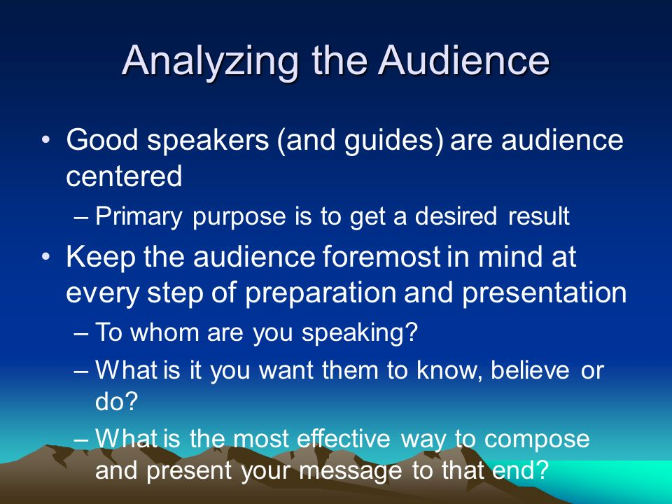 the analysis of two audiences one Audience analysis is the process of examining information about your listeners that analysis helps you to adapt your message so that your listeners will respond as you wish (1) in everyday conversations you adapt your message to your audience for example, if you went to a party the night before.
