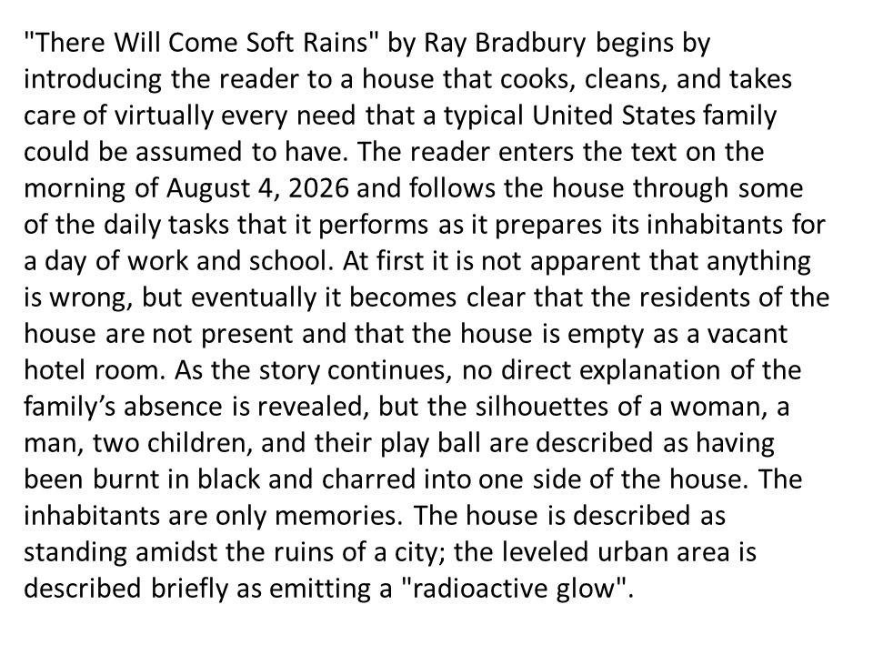 ray bradburys there will come soft rains essay