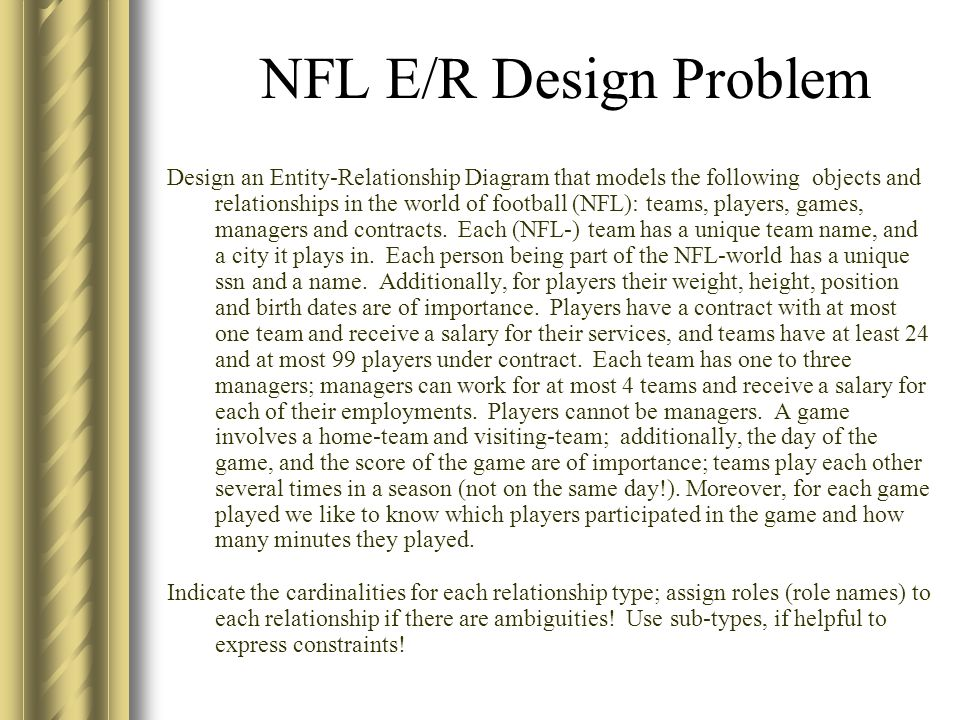 NFL E/R Design Problem Design an Entity-Relationship Diagram that models  the following objects and relationships in the world of football (NFL):  teams,