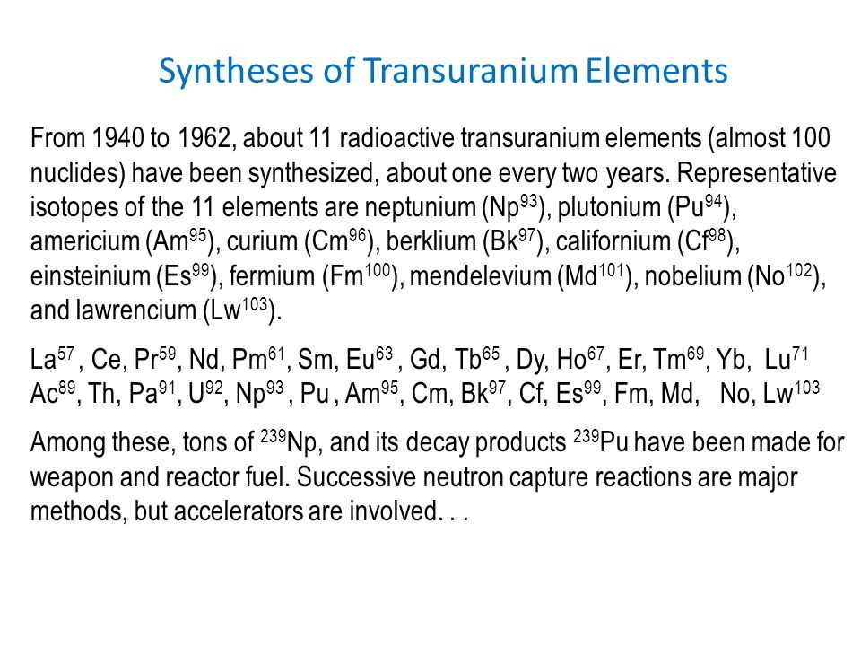 Syntheses of Transuranium Elements