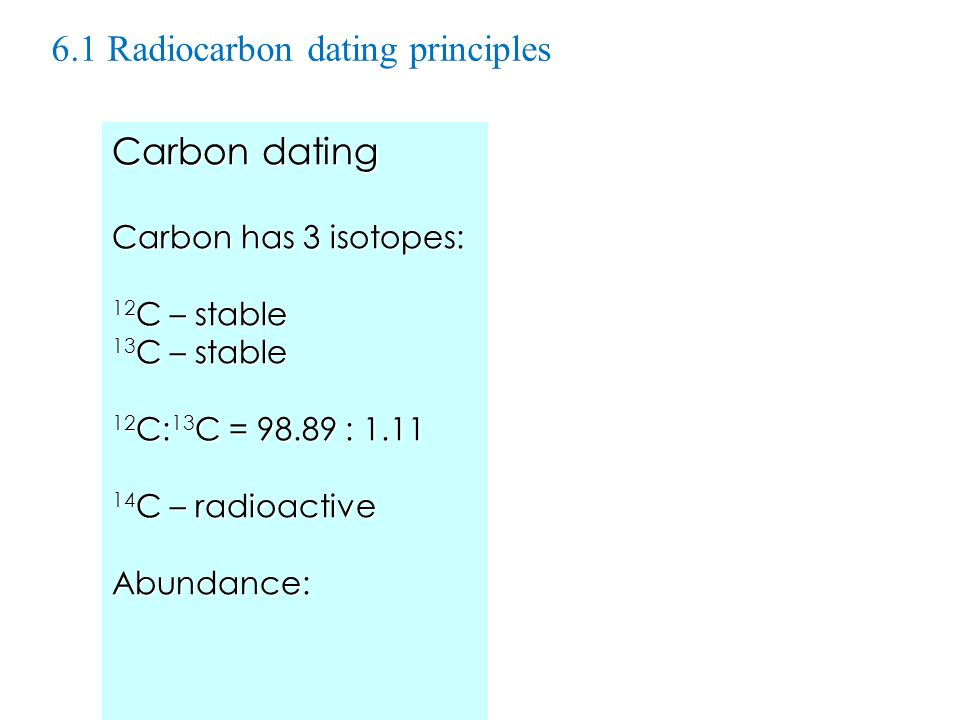 6.1 Radiocarbon dating principles