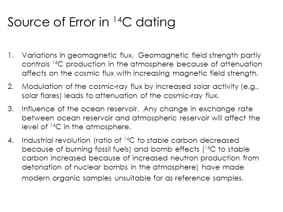 Source of Error in 14C dating