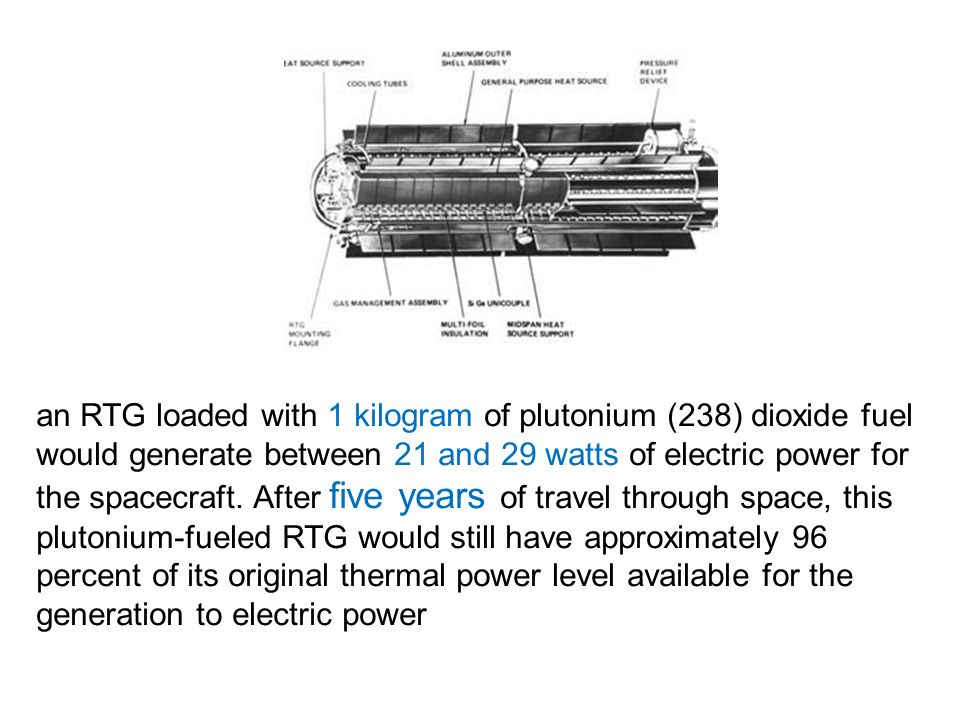 an RTG loaded with 1 kilogram of plutonium (238) dioxide fuel would generate between 21 and 29 watts of electric power for the spacecraft.