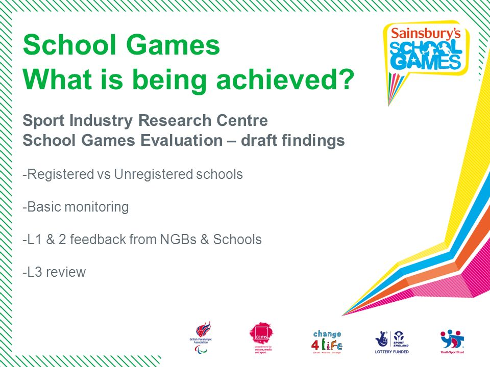 School Games What is being achieved Sport Industry Research Centre