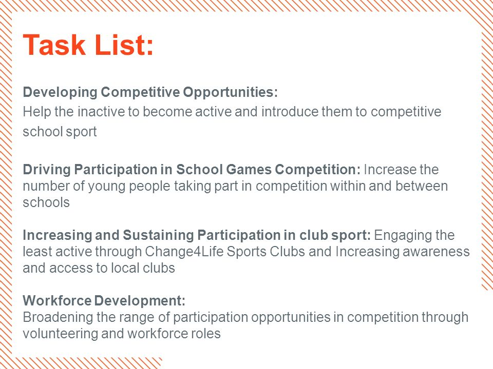 Task List: Developing Competitive Opportunities: