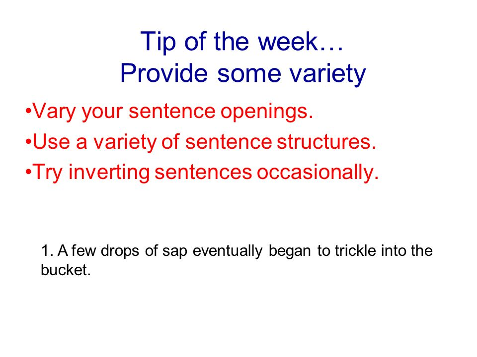 variety of sentence structures