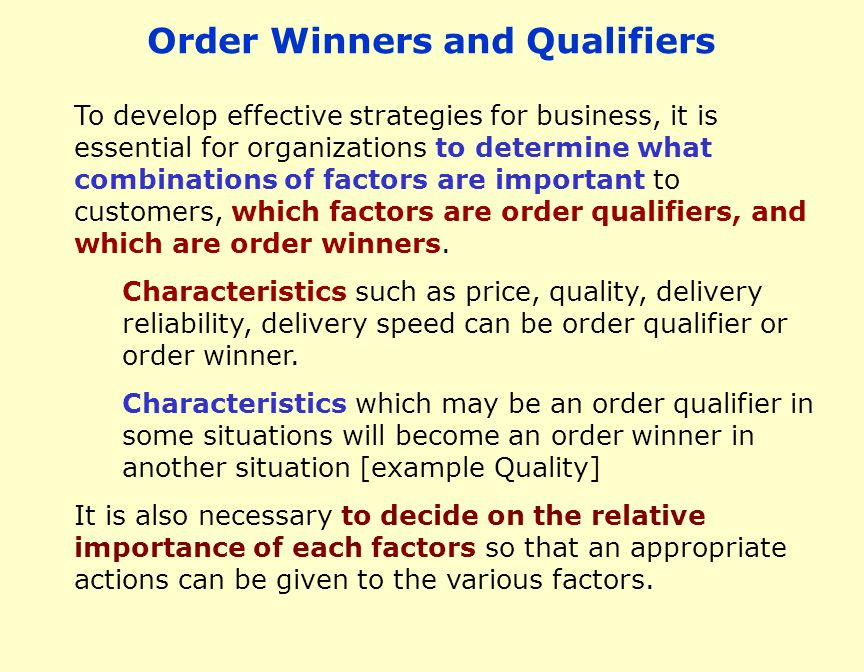 Domino's Pizza: Order Winners And Qualifiers