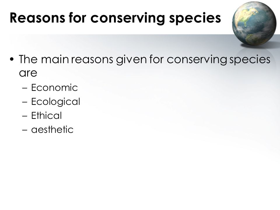 Reasons for conserving species