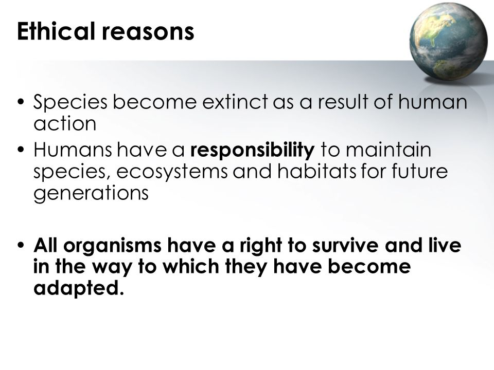 Ethical reasons Species become extinct as a result of human action