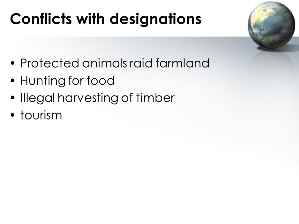 Conflicts with designations