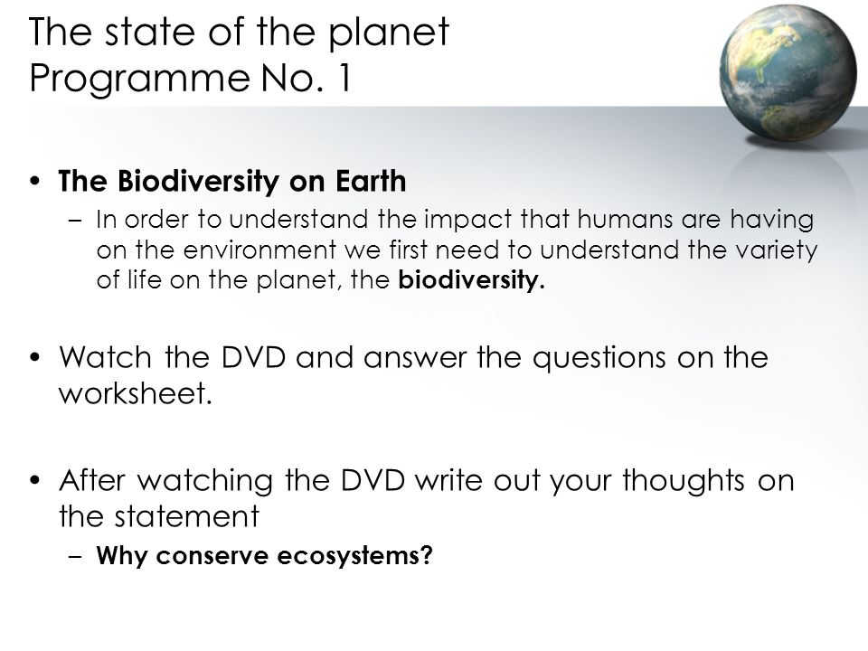 The state of the planet Programme No. 1