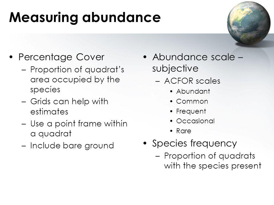 Measuring abundance Percentage Cover Abundance scale – subjective