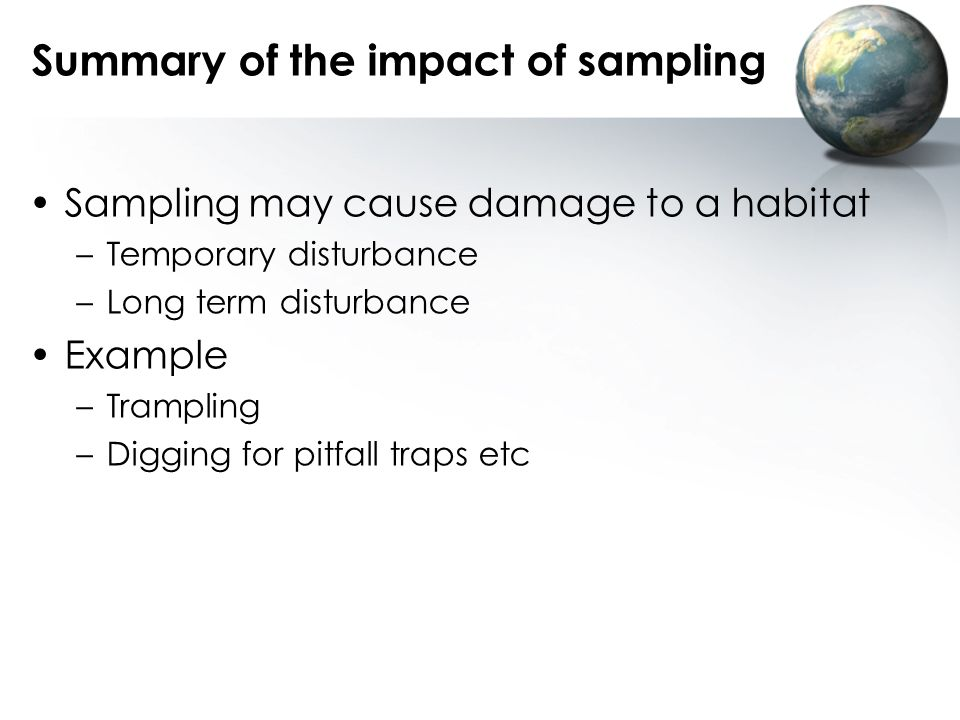 Summary of the impact of sampling