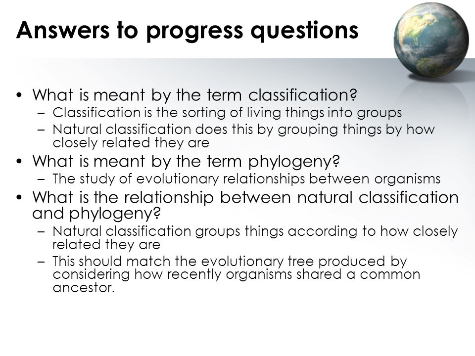Answers to progress questions