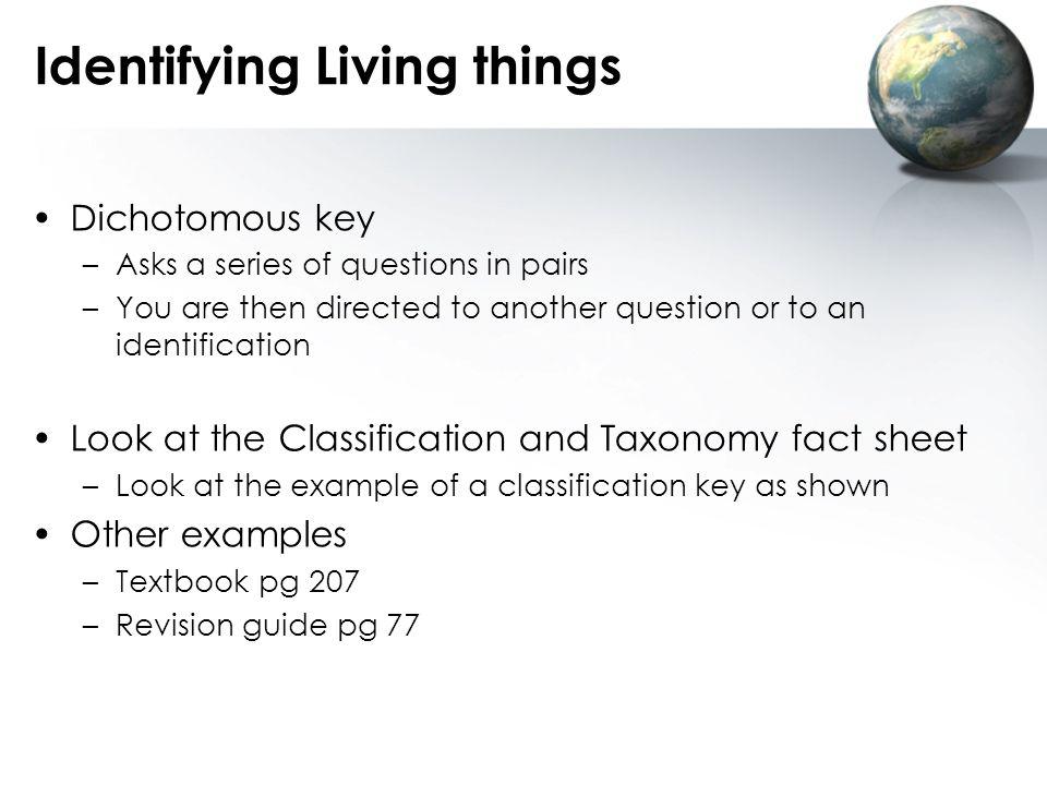 Identifying Living things