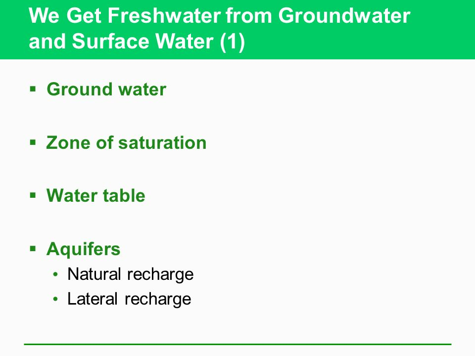 We Get Freshwater from Groundwater and Surface Water (1)