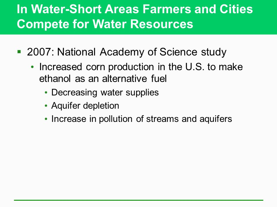 In Water-Short Areas Farmers and Cities Compete for Water Resources