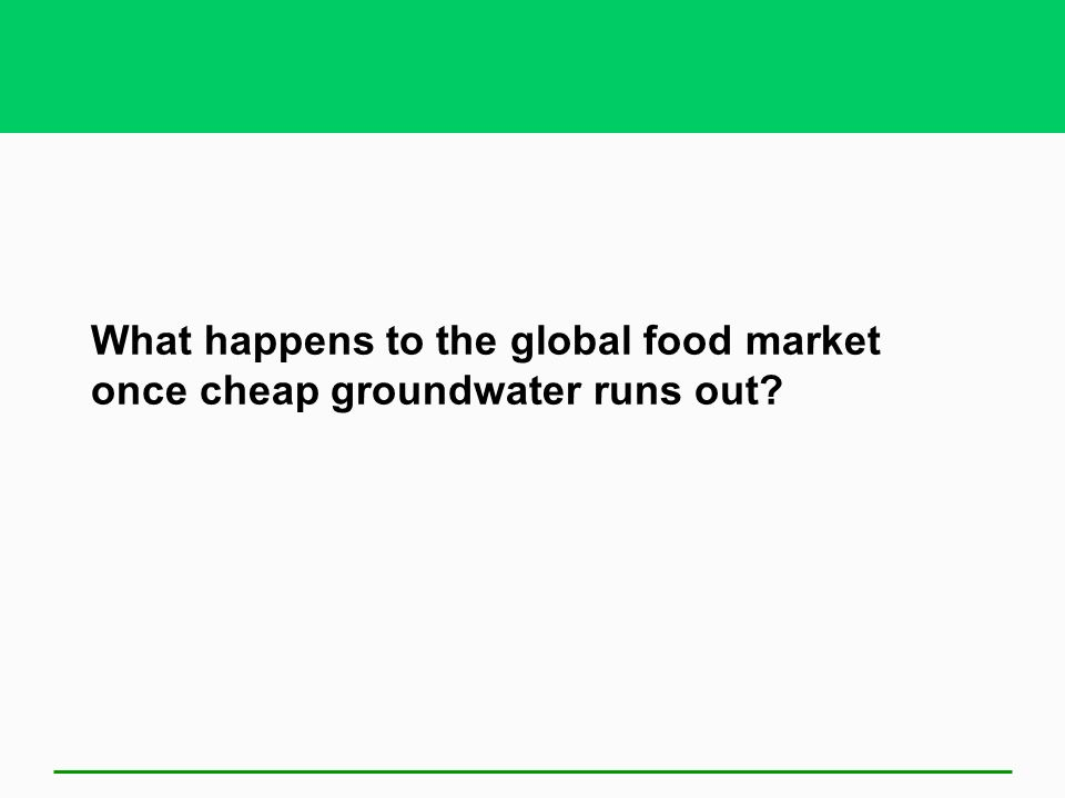 What happens to the global food market once cheap groundwater runs out
