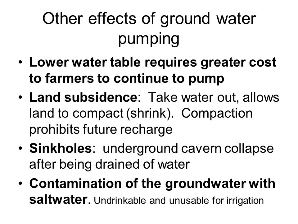 Other effects of ground water pumping
