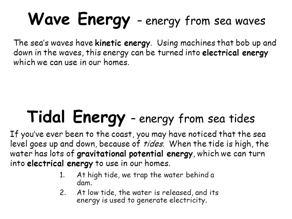 Tidal Energy – energy from sea tides