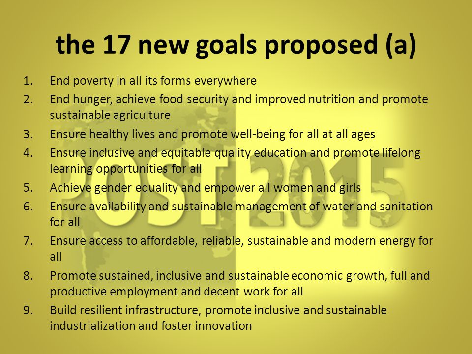 the 17 new goals proposed (a)