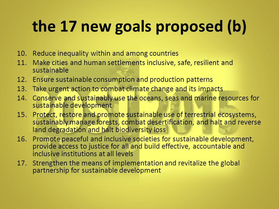 the 17 new goals proposed (b)