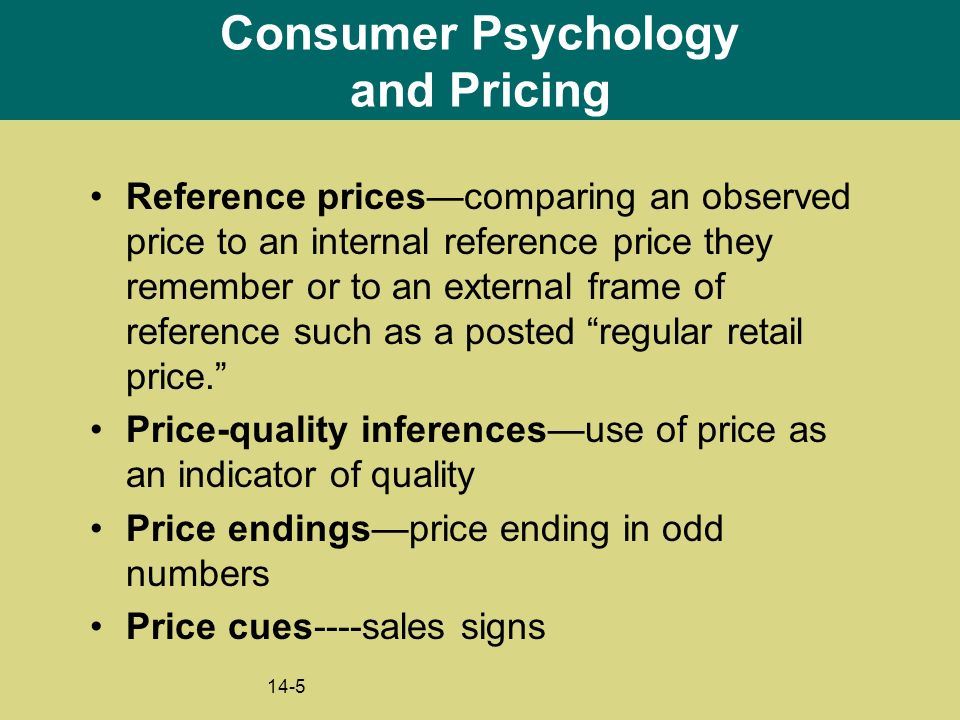 pricing and the psychology of consumption Last week you considered pricing using a rational utility model  we'll look at the  psychology behind consumer purchase decisions and the mental accounting that   separate the pain of paying from consumption6:01.