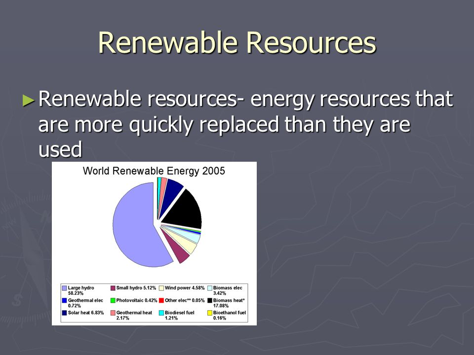 Renewable Resources Renewable resources- energy resources that are more quickly replaced than they are used.