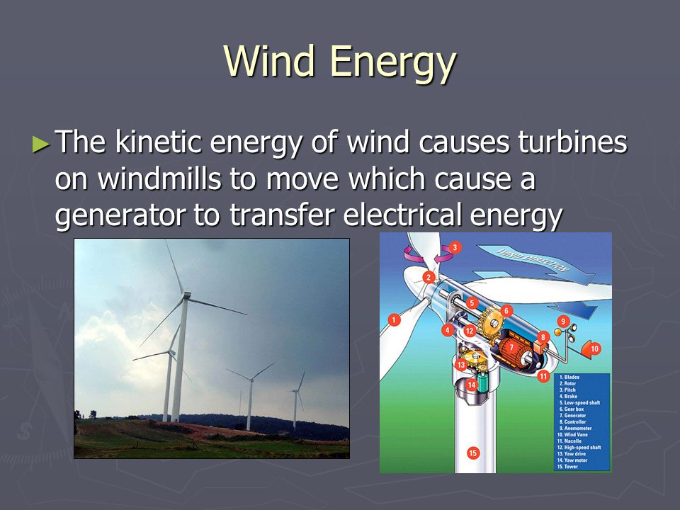 Wind Energy The kinetic energy of wind causes turbines on windmills to move which cause a generator to transfer electrical energy.