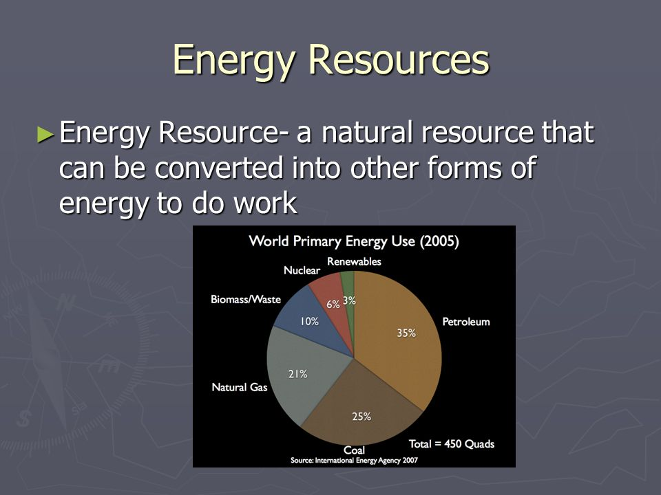 Energy Resources Energy Resource- a natural resource that can be converted into other forms of energy to do work.