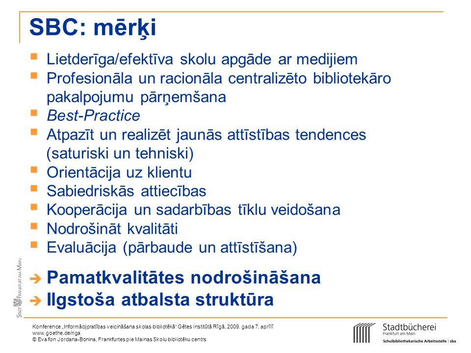 SBC: mērķi Pamatkvalitātes nodrošināšana Ilgstoša atbalsta struktūra