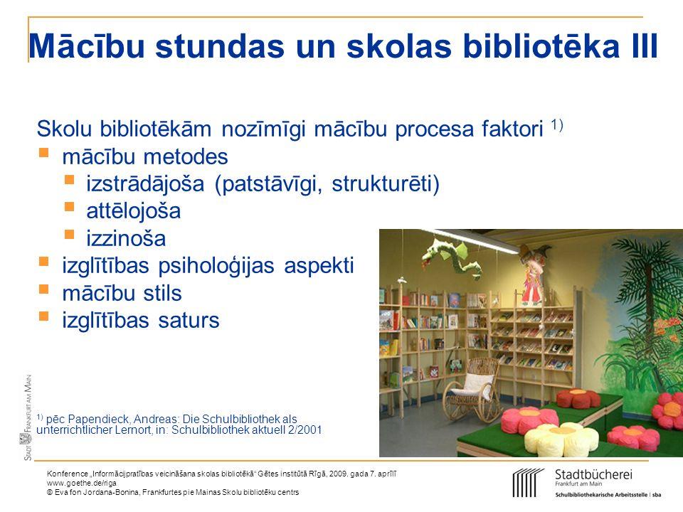 Mācību stundas un skolas bibliotēka III